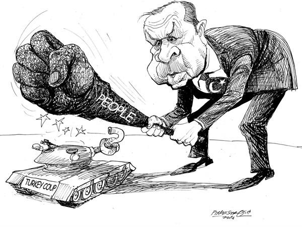 karikatur für tribüne-fest in hand